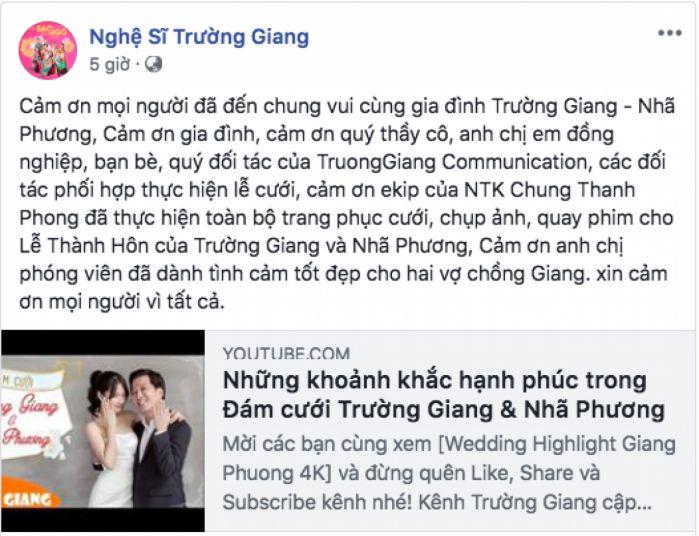 lời cảm ơn hay trong đám cưới trên facebook
