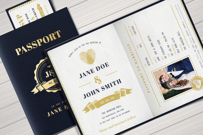 Thiệp cưới chất với phiên bản Passport